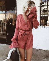 romper,pink romper,wrap,tumblr,silk,long sleeves,long sleeve romper,bag