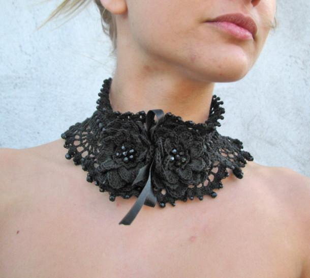 scarf black jewelry black black flower choker necklace necklace crochet necklace victorian crochet jewelry black choker hollywood goth goth gothic lolita ethnic etsy black jewels steampunk handmade
