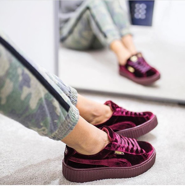 the best attitude 0a46c a69a6 Fenty Puma by Rihanna Mens Velvet Creeper Sneakers, Dark Red