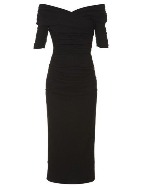 DOLCE & GABBANA Ruched wool-blend crepe midi dress in black