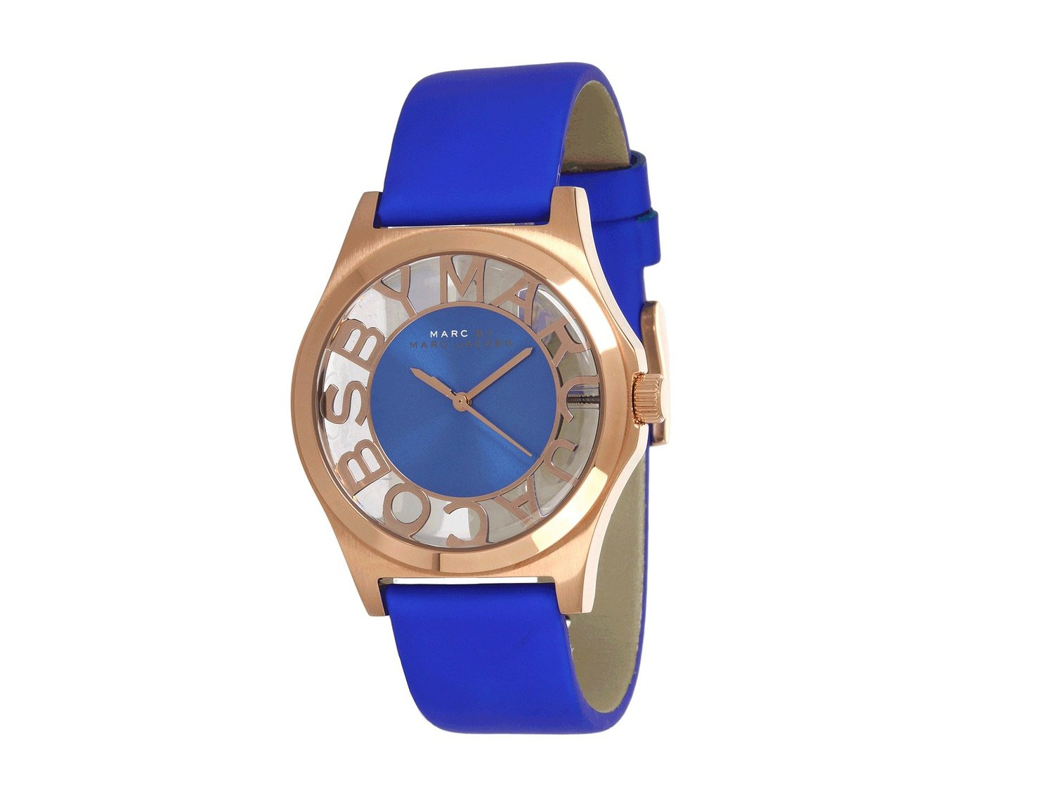 Amazon.com: Marc by Marc Jacobs Henry Blue Cut-out Dial Rose Gold Ion-plated Ladies Watch MBM1244: Marc Jacobs: Watches