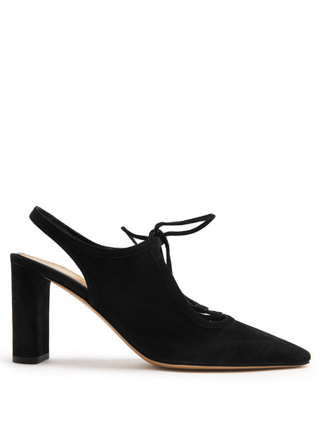 THE ROW Camil suede slingback pumps in black