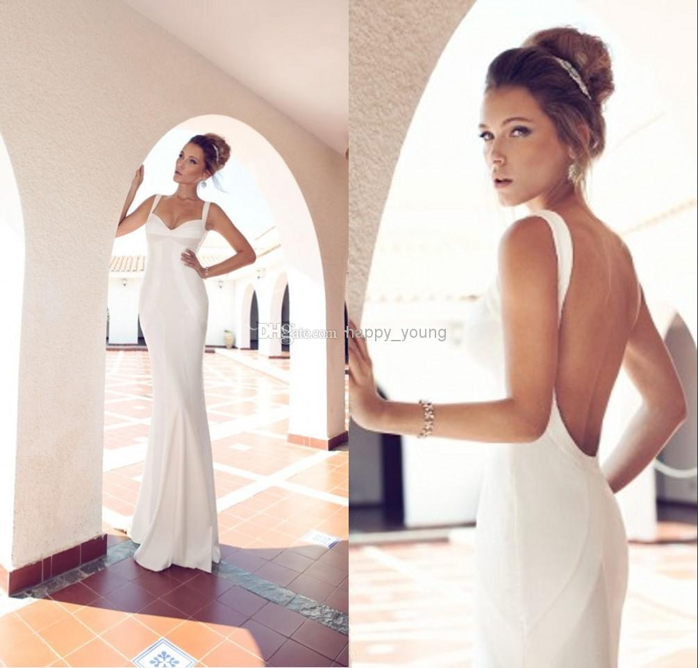 Cheap Satin Wedding Gowns - Discount Simple Julie Vino 2014 Sheath Wedding Gowns Spaghetti Online with $128.09/Piece | DHgate