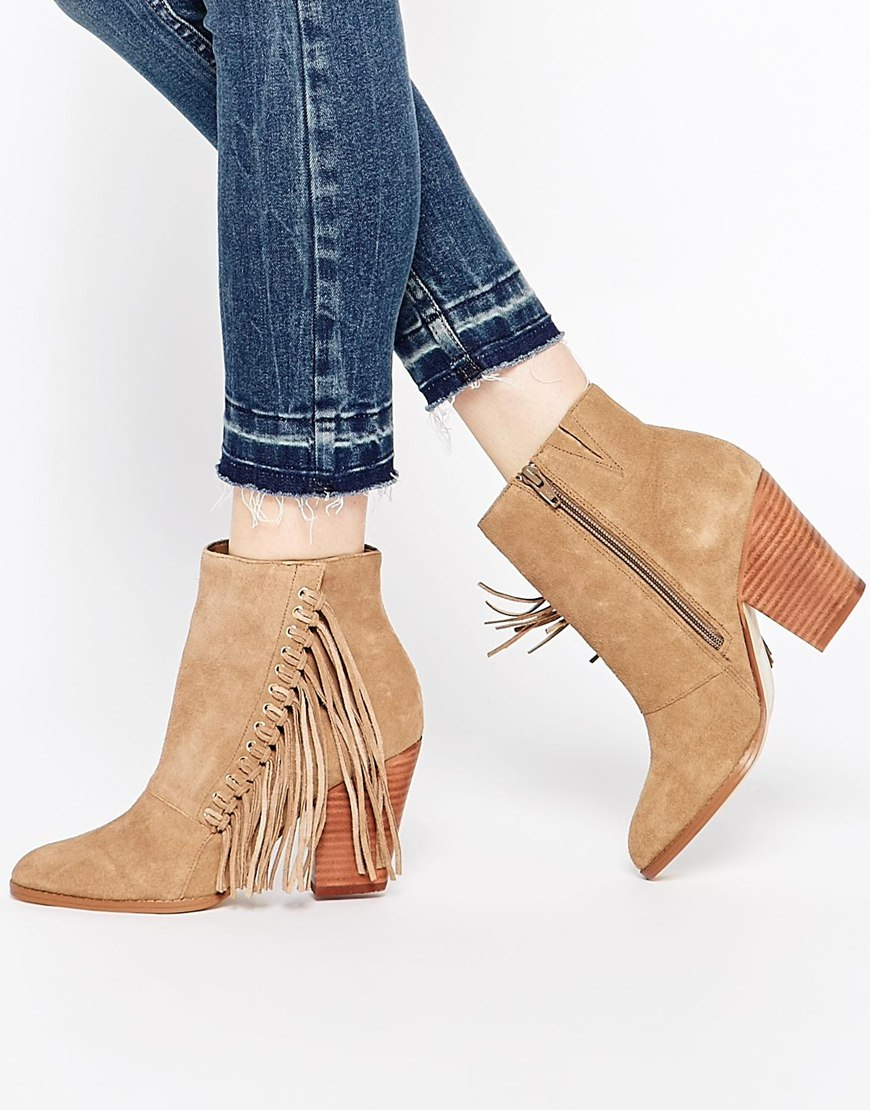 Linsey Taupe Suede Fringe Heeled Boots at asos.com