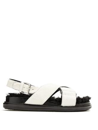 hair fur sandals white shoes