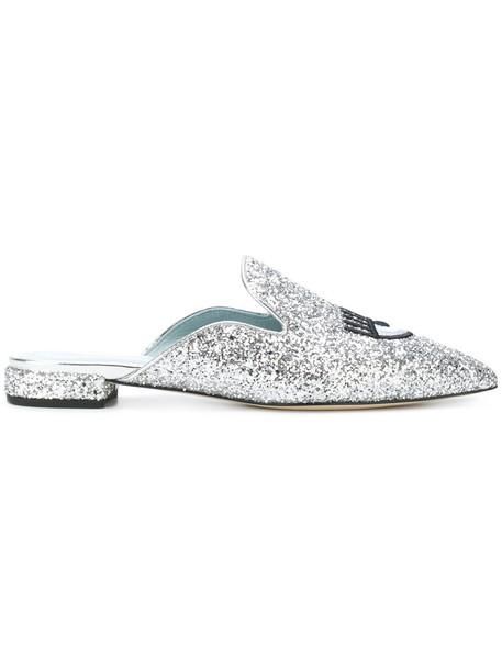 Chiara Ferragni women mules leather grey metallic shoes