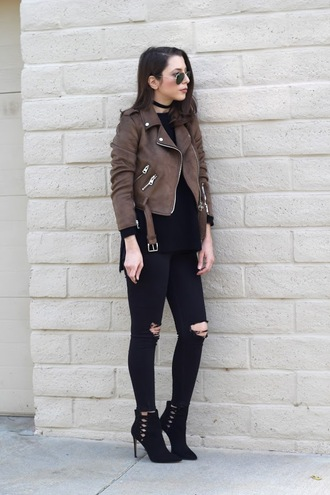 cost with me blogger jacket sweater jeans shoes cropped jacket perfecto ankle boots brown jacket black jeans
