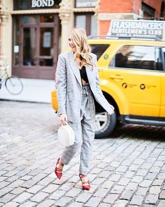 bag white bag grey pants grey blazer plaid pants red heels round bag pants grey plaid matching set high heels heels