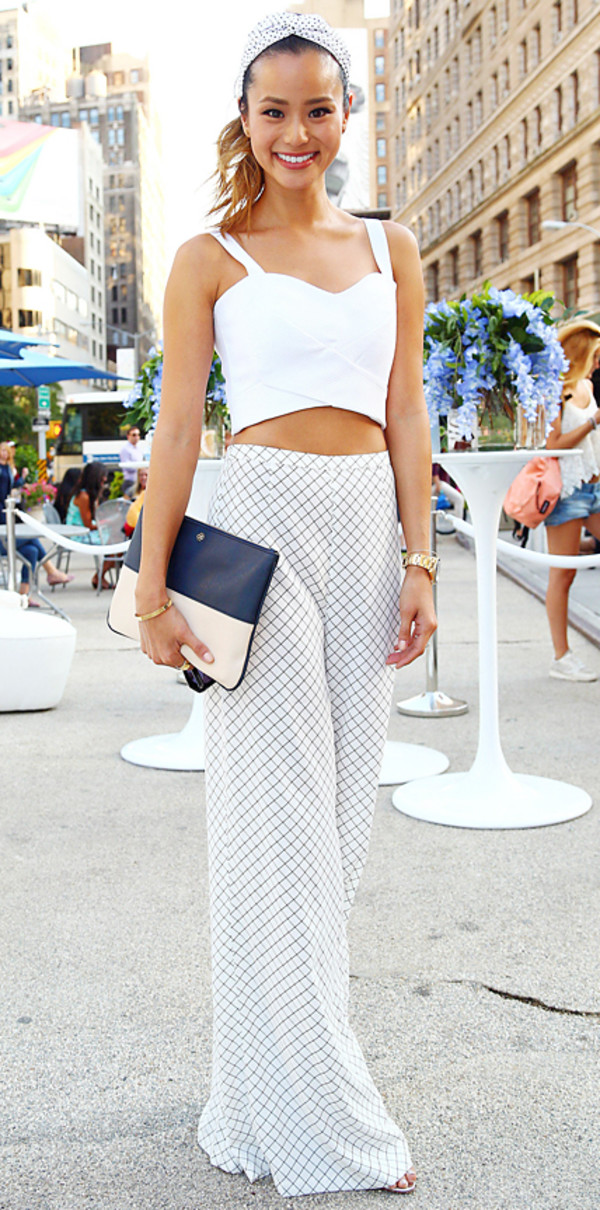top jamie chung pants bag hair accessory