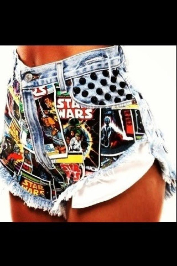 shorts colorful High waisted shorts pants jeans star wars