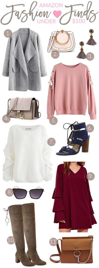 sandy a la mode blogger coat jewels bag sweater shoes sunglasses dress pink sweater grey coat sandals boots fall outfits