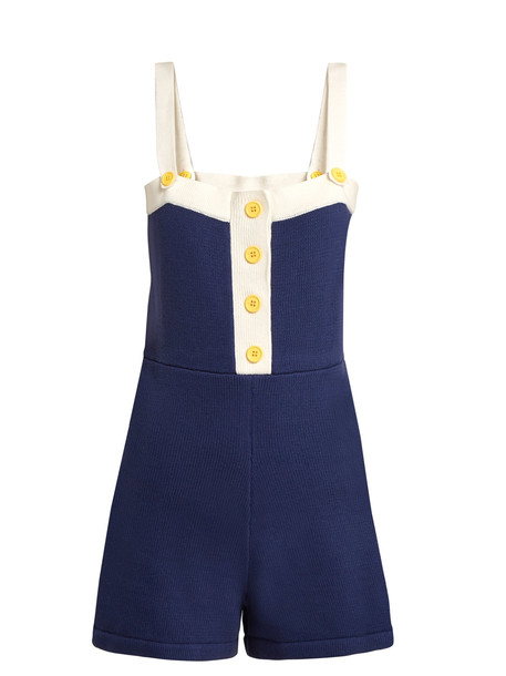 STAUD Castaway cotton-blend playsuit in blue