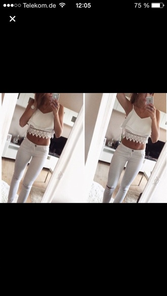 top white croptop lace jeans