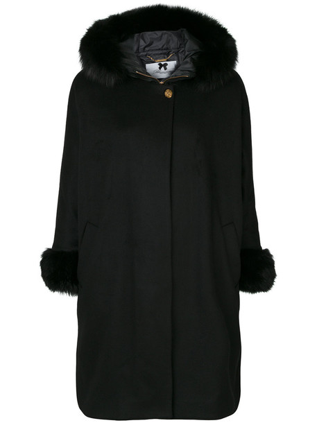 Blumarine coat fur fox women black wool