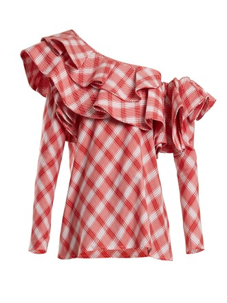 top cotton tartan white red