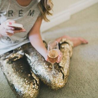leggings pants tight gold gold sequins glitter party shiny glitter pants