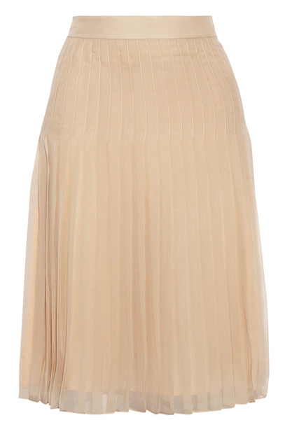 Givenchy skirt pleated skirt chiffon pleated silk beige