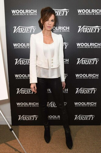 jacket blazer black and white kate beckinsale pants boots top