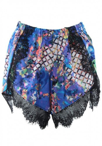 Wrapper Shorts With Laced Trim