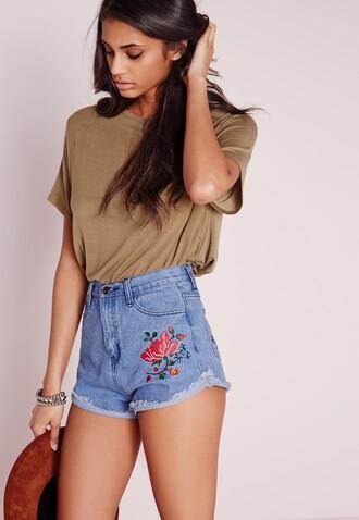 shorts embroidered shorts denim shorts blue shorts top khaki top summer outfits