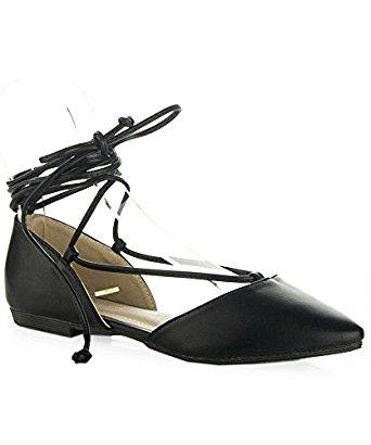 Amazon.com | Women's Ankle Ribbon Lace Up Square Toe Faux Suede Ballet Flats | Flats