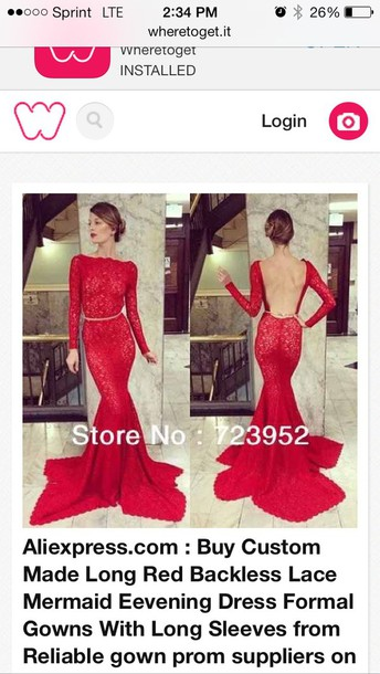 dress red lace backless prom dress long