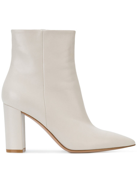 Gianvito Rossi women ankle boots leather white shoes