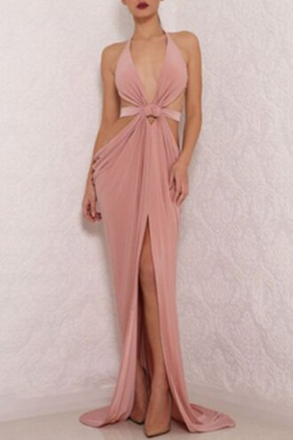 dress sexy pink fashion style maxi prom dress homecoming dress formal dress feminine
