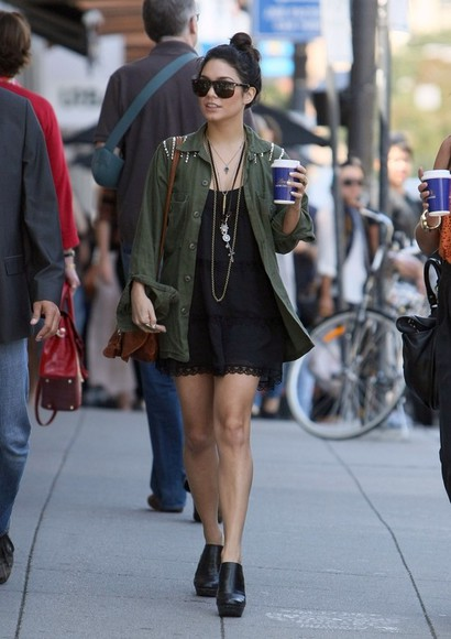 vanessa hudgens dress sunglasses bag leather bag vanessa hudgens clothes summer dress summer outfits coat jacket black green black dress, style