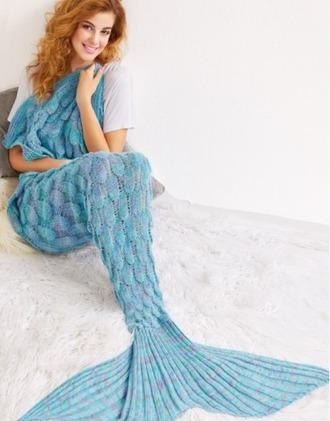 home accessory blue mermaid blanket
