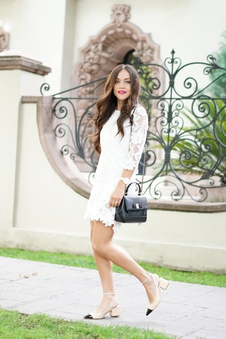 dress tumblr mini dress white dress lace dress white lace dress bag shoes slingbacks