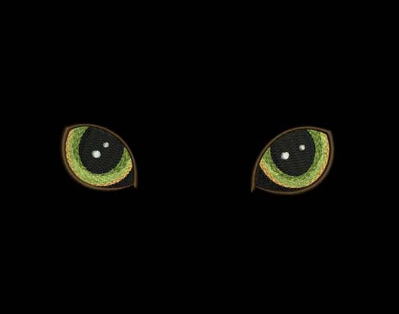 Cat's Eyes Embroidery Design for T-Shirt Decor AN007