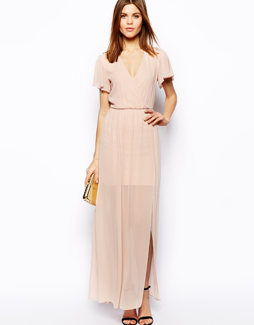 ASOS Maxi Dress With Ruffle Sleeve at asos.com