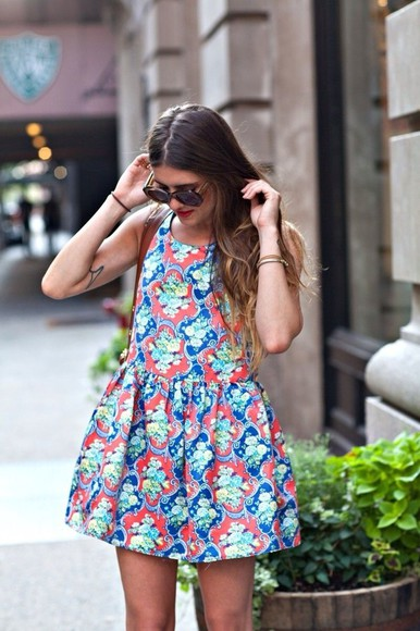 dress blue patterned coral green bubble dress street style dark blue