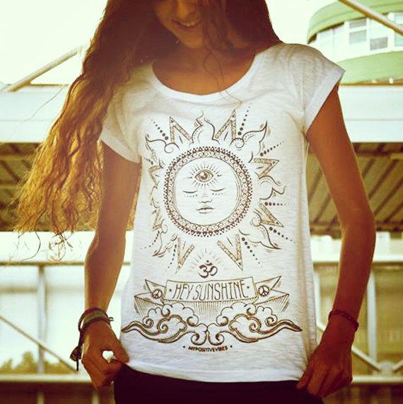 Hey sunshine  spiritual yoga woman tshirt by mypositivevibes