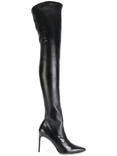 René Caovilla women over the knee leather black shoes