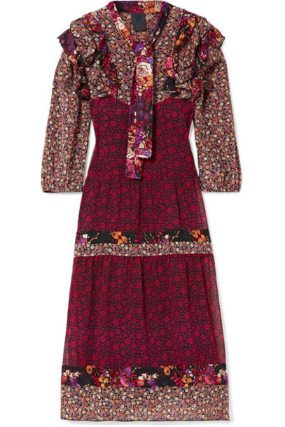Anna Sui - Butterflies And Bells Ruffled Printed Silk-jacquard Dress - Purple