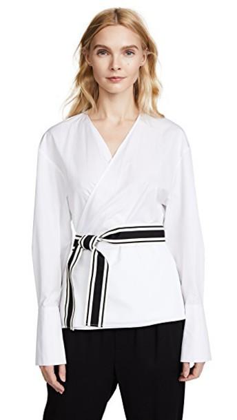 Diane Von Furstenberg blouse cross white top