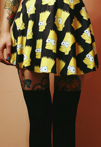bart simpson the simpsons knee high socks socks cartoon girly simpson print cute skirts