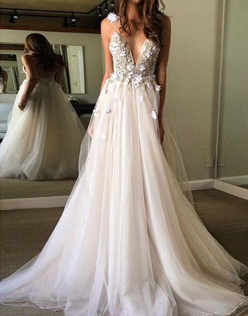 A Line V Neck Tulle Prom Dress, V Neck Formal Dress, Evening Dress