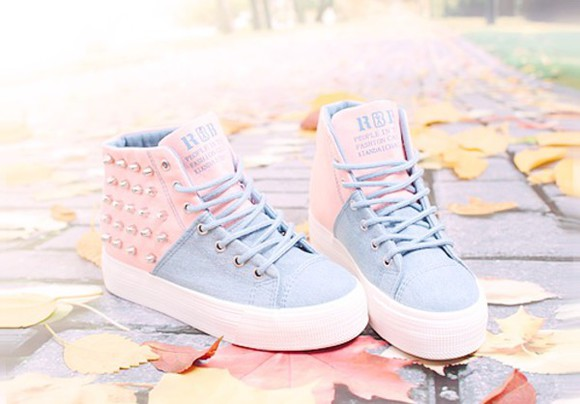 sneakers pastle rainbow color shoes pink and blue