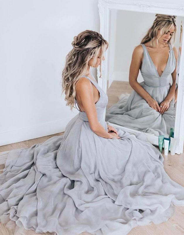 Gray chiffon v neck long prom dress, gray chiffon evening dress