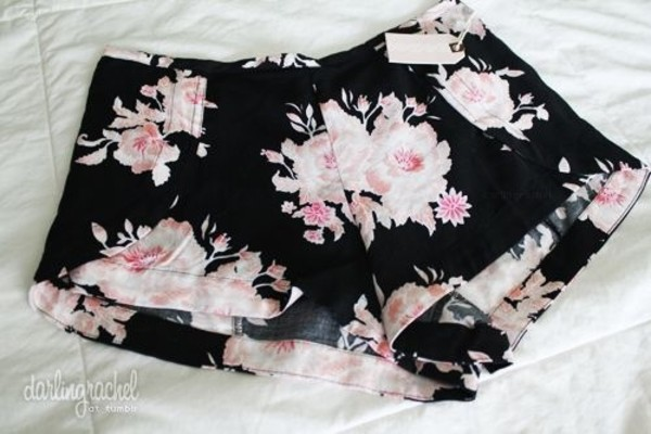 shorts black elegant flowered shorts streetstyle clothes tumblr floral High waisted shorts