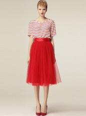 skirt,bqueen,ustrendy,girl,dress,red,cute,long,high waisted,gauze,puff