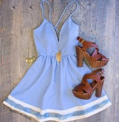 dress,blue sundress,jewels,shoes,low cut,flowy,blue dress,cute dress,summer dress,blue,very important,high-low dresses,short party dresses