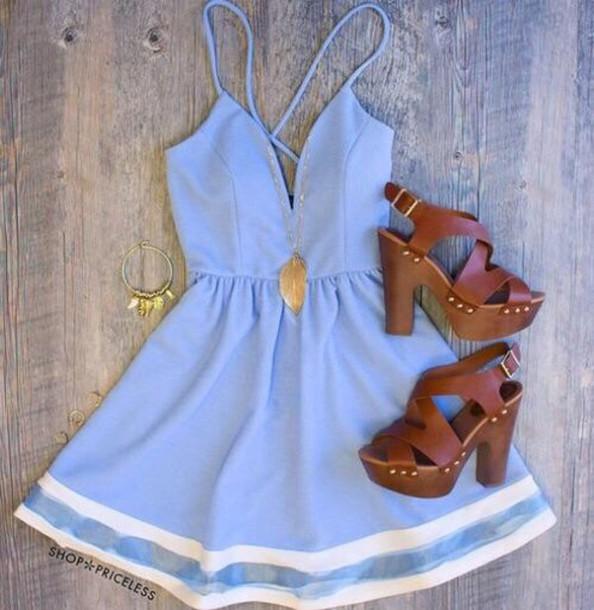 dress blue sundress jewels shoes low cut flowy blue dress cute dress summer dress blue blue dress very important high-low dresses short party dresses
