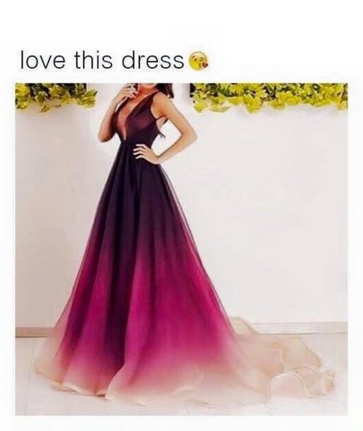 dress ombre dress prom dress chiffon burgundy peach pink low neckline open back dresy dressy pretty cute prom wedding omre