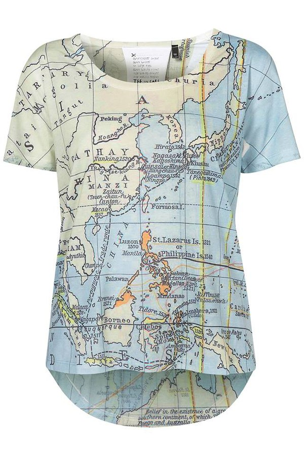 Shirt map map print t shirt outfit top cool hipster for Best dress shirts in the world