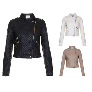Quilted Black Brown Off White Faux Leather Biker Bomber Jacket