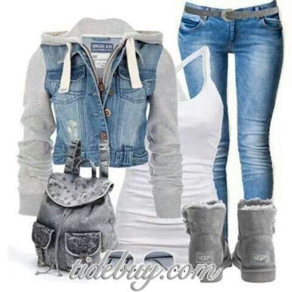 white tank grey jacket denim jeans boots denim jacket denim sweater backpack mochila gray backpack gray boots white cross tank denim and grey denim and gray denim gray sweater ugg boots gray uggs gray ugg boots